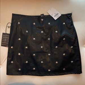 Brand new Forever 21 leather skirt with stars
